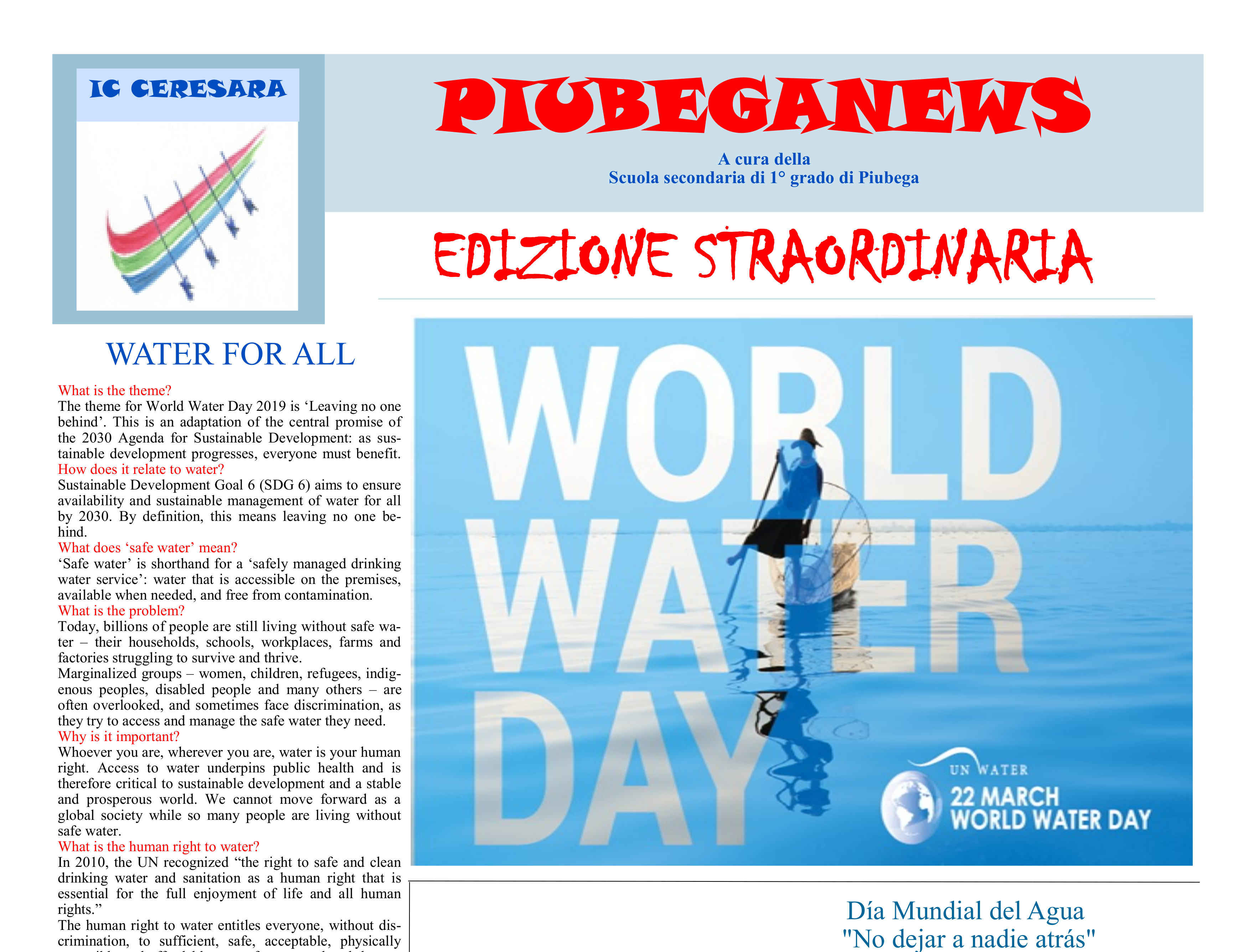 Giornalino PiubegaNews World Water Day 2019